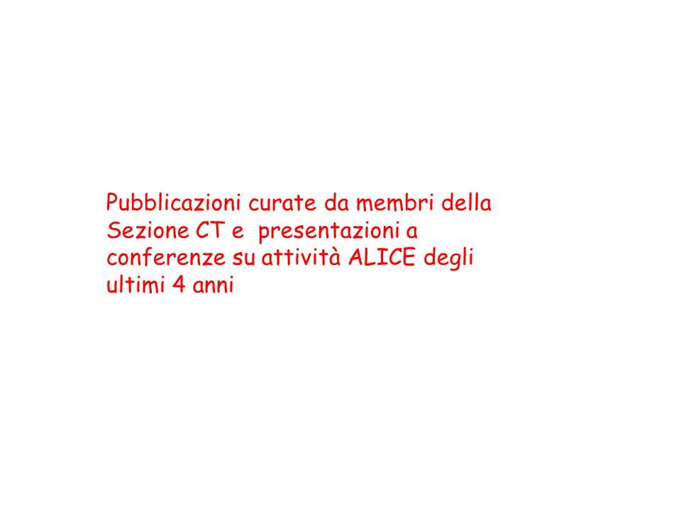 Pubblicazioni curate da membri della Sezione CT e presentazioni a conferenze su attività ALICE degli ultimi 4 anni