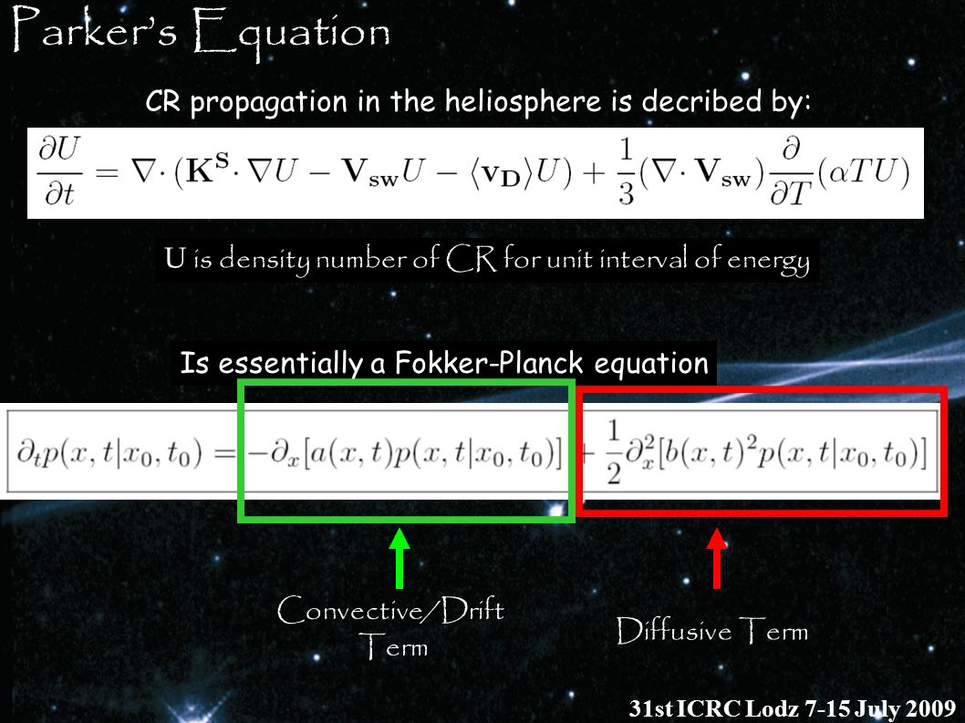 Parker's Equation CR propagation in the heliosphere is decribed by: