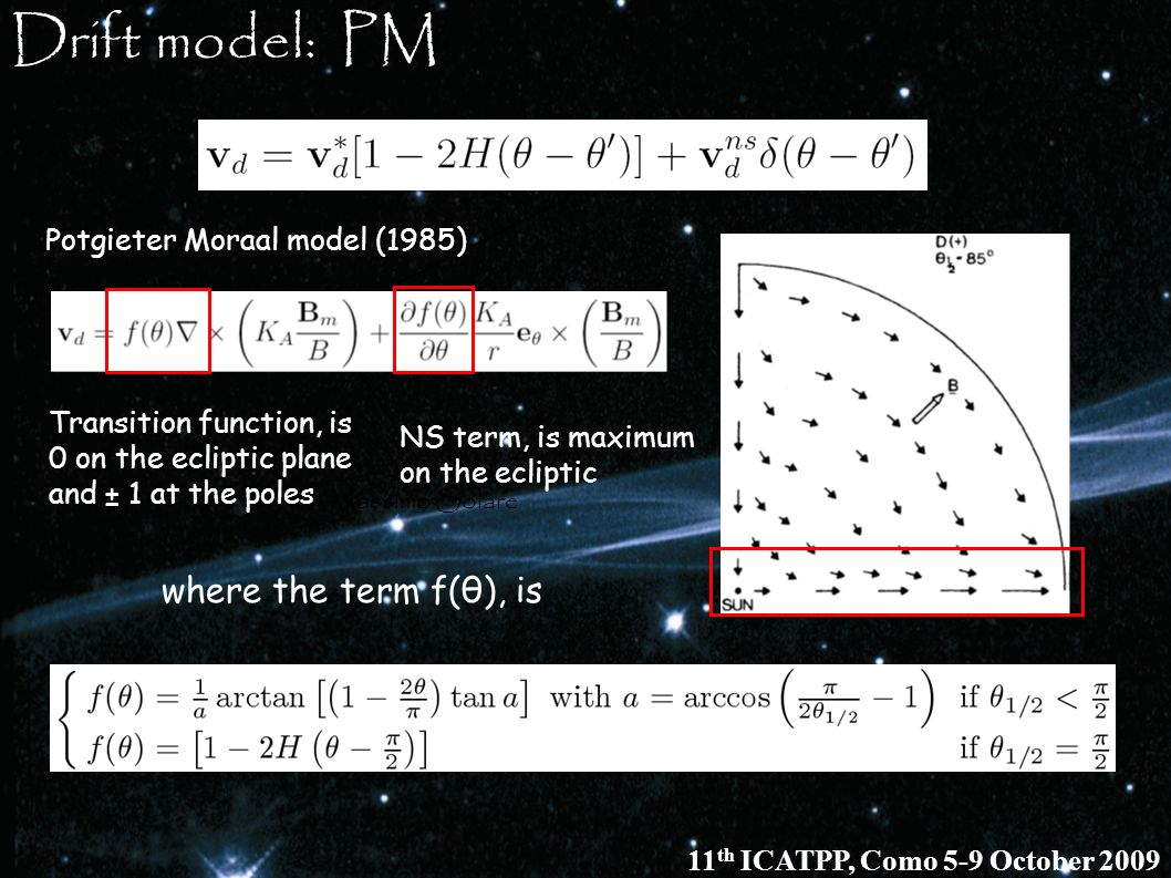Drift model: PM where the term f(θ), is Potgieter Moraal model (1985)