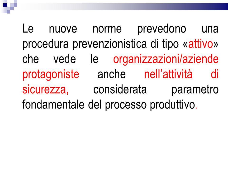 Le nuove norme prevedono una procedura prevenzionistica di tipo «attivo» che vede le organizzazioni/aziende protagoniste anche nell'attività di sicurezza, considerata parametro fondamentale del processo produttivo.