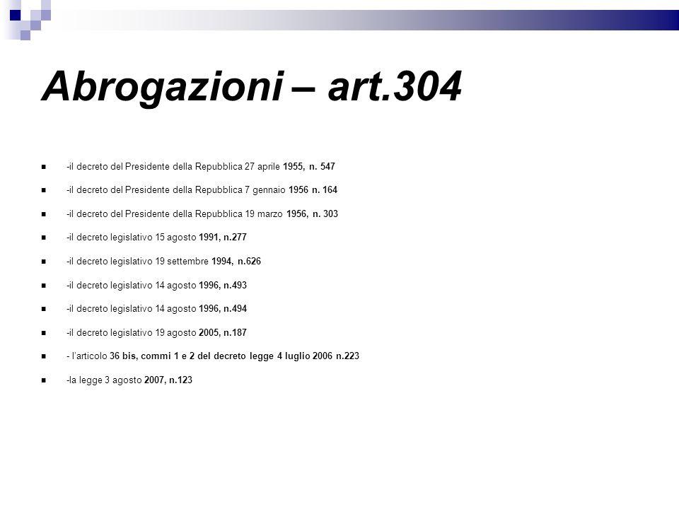 Abrogazioni – art.304 -il decreto del Presidente della Repubblica 27 aprile 1955, n. 547.
