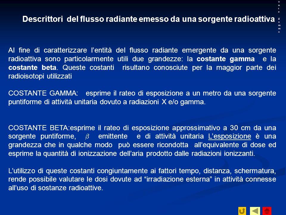 Descrittori del flusso radiante emesso da una sorgente radioattiva