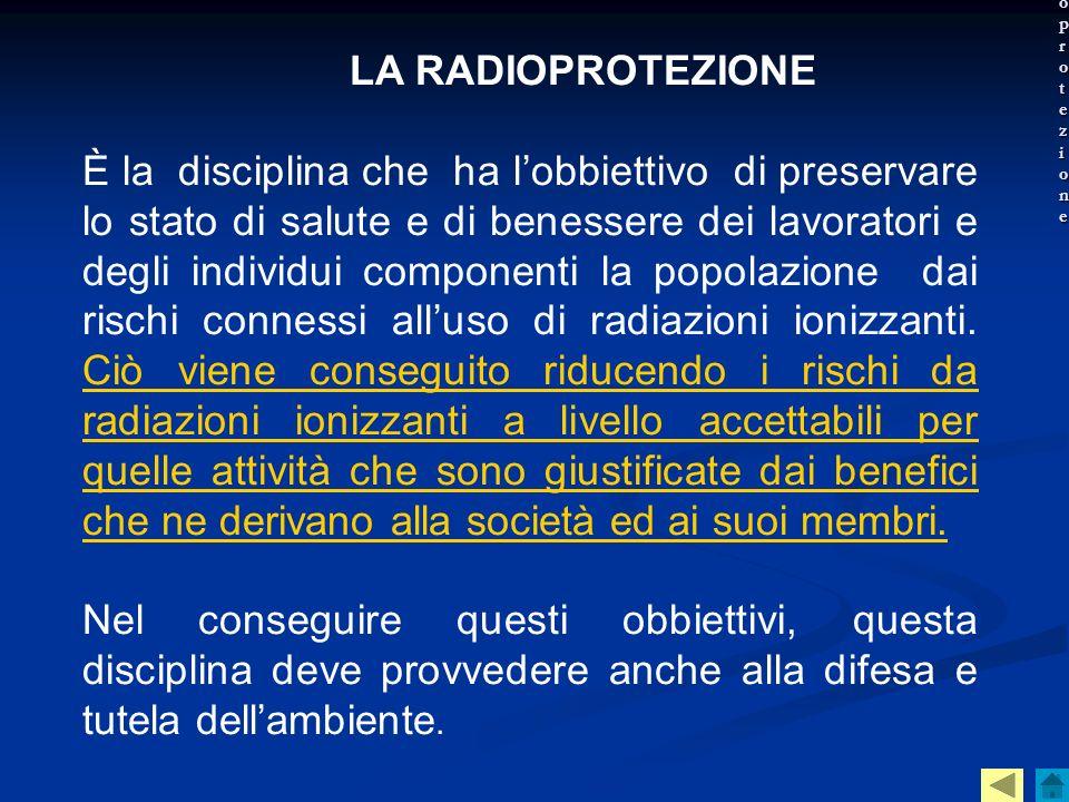 La radioprotezioneLA RADIOPROTEZIONE.