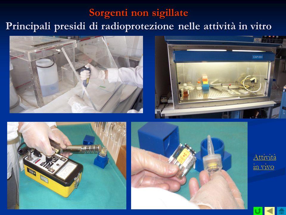 Sorgenti non sigillate Principali presidi di radioprotezione nelle attività in vitro