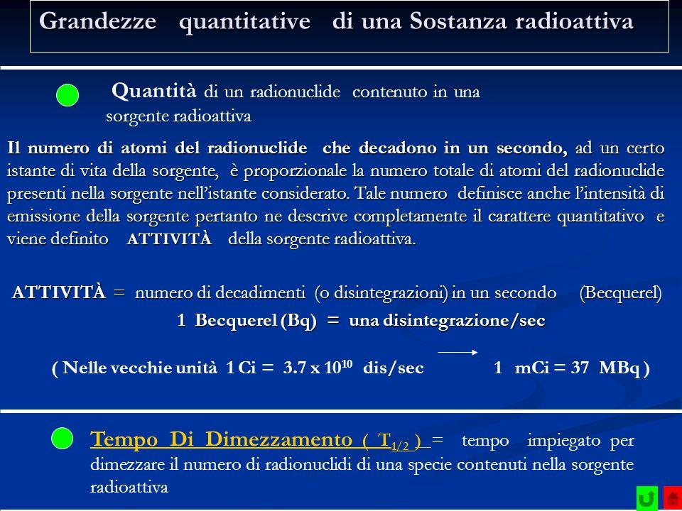 Grandezze quantitative di una Sostanza radioattiva