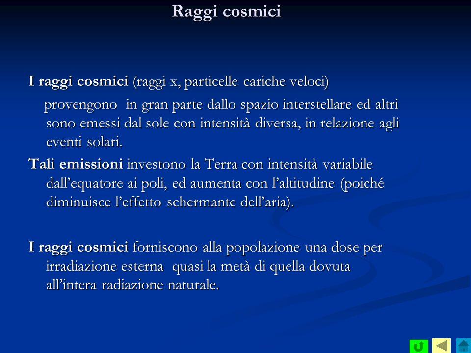Raggi cosmici I raggi cosmici (raggi x, particelle cariche veloci)