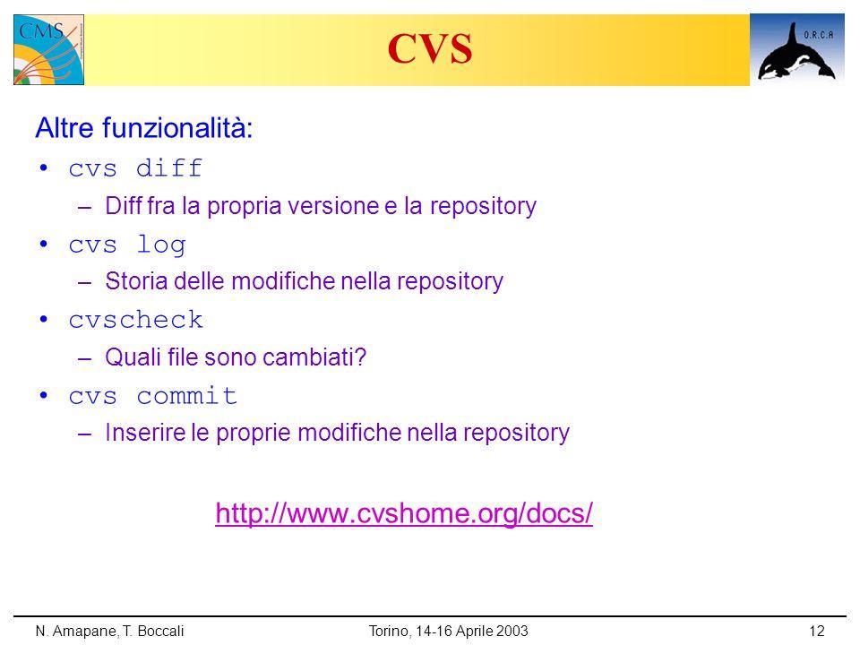 CVS Altre funzionalità: cvs diff cvs log cvscheck cvs commit