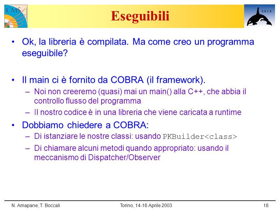 Eseguibili Ok, la libreria è compilata. Ma come creo un programma eseguibile Il main ci è fornito da COBRA (il framework).