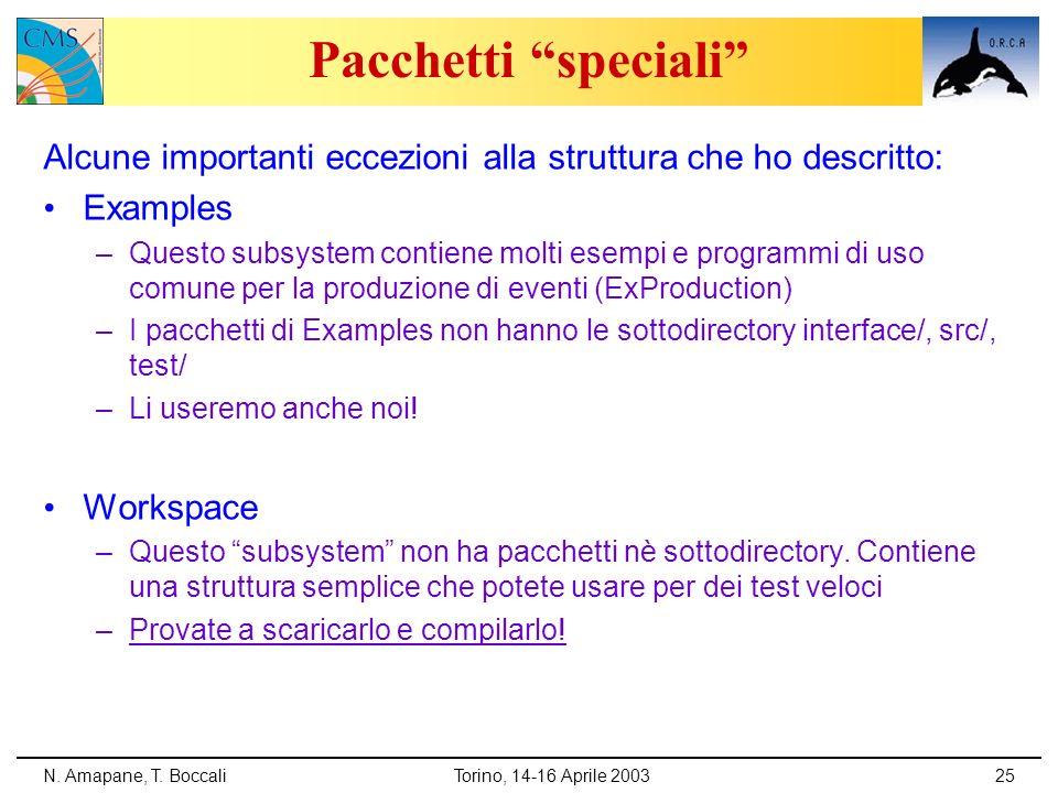 Pacchetti speciali Alcune importanti eccezioni alla struttura che ho descritto: Examples.