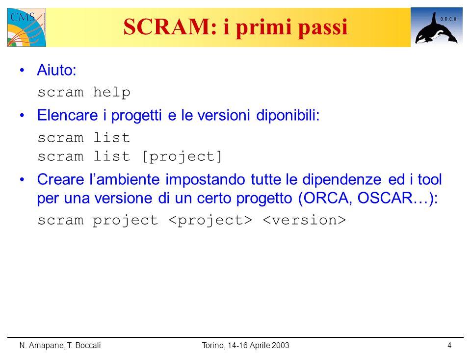 SCRAM: i primi passi Aiuto: scram help