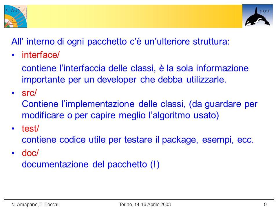 All' interno di ogni pacchetto c'è un'ulteriore struttura: