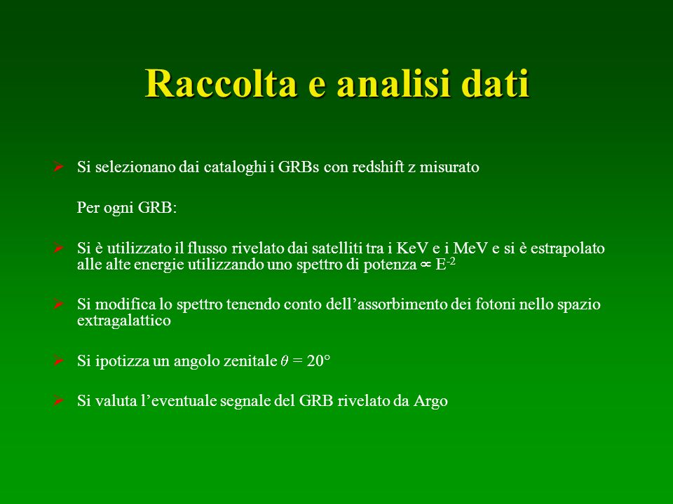 Raccolta e analisi dati