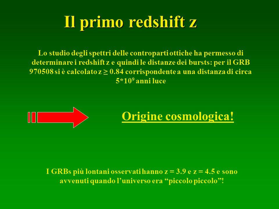 Il primo redshift z Origine cosmologica!