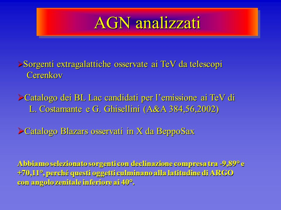 AGN analizzati Sorgenti extragalattiche osservate ai TeV da telescopi Cerenkov.