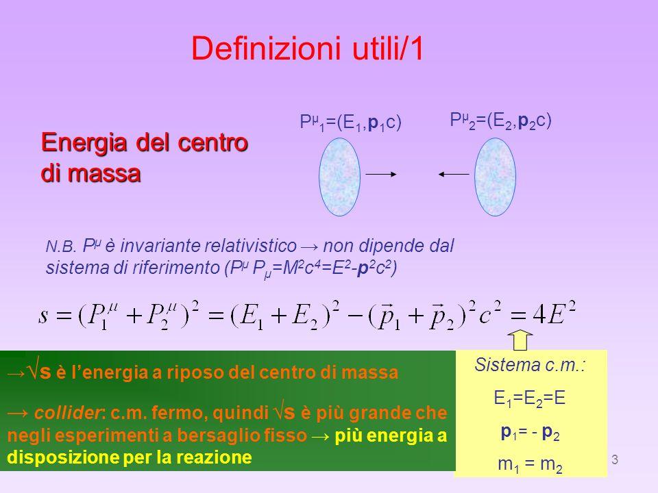 Definizioni utili/1 Energia del centro di massa