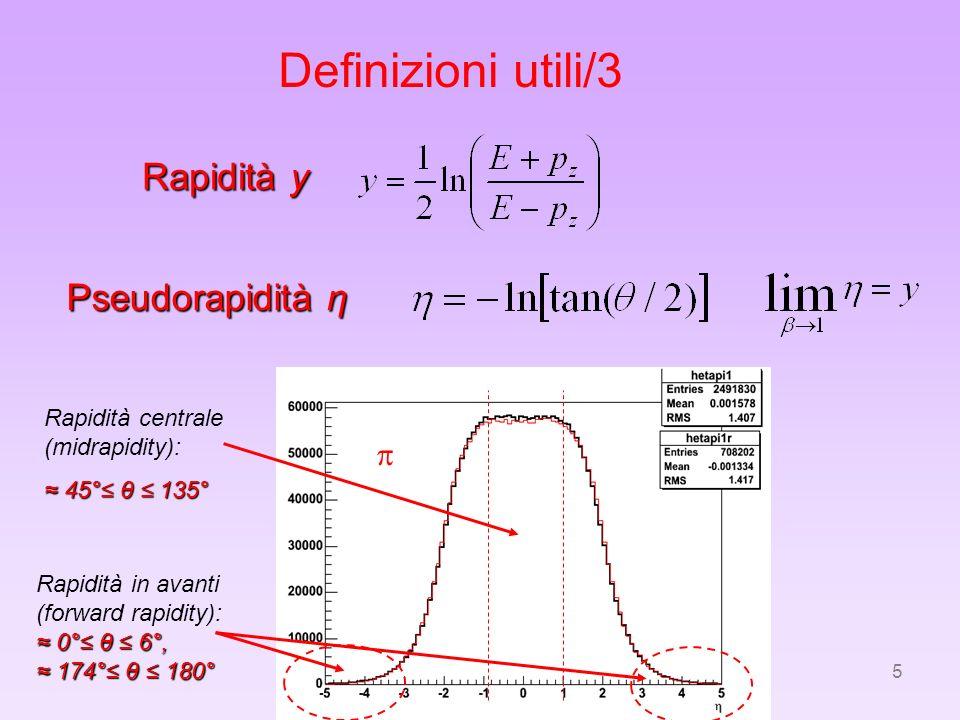 Definizioni utili/3 Rapidità y Pseudorapidità η p