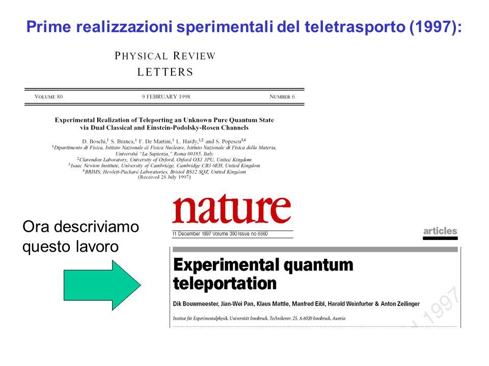 Prime realizzazioni sperimentali del teletrasporto (1997):