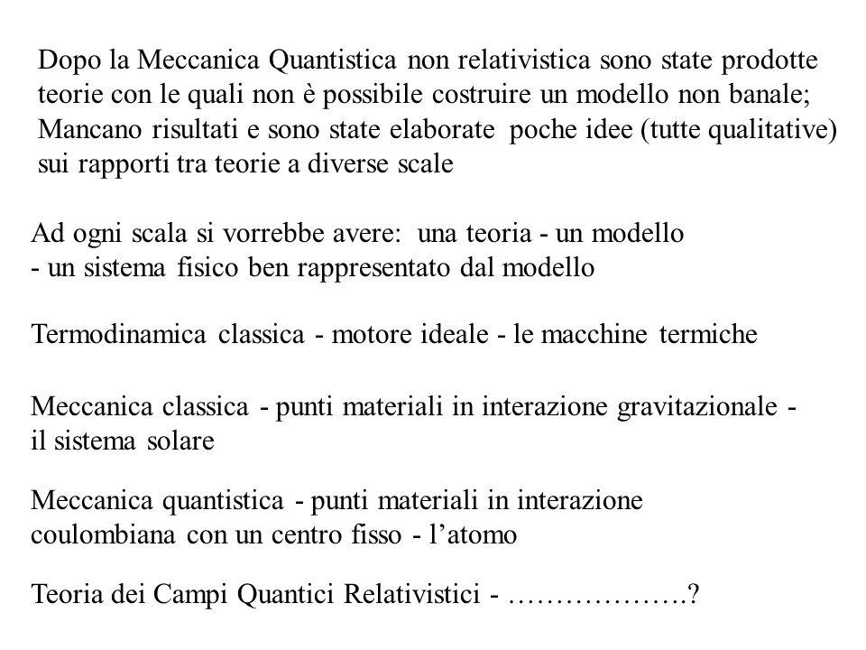 Dopo la Meccanica Quantistica non relativistica sono state prodotte teorie con le quali non è possibile costruire un modello non banale; Mancano risultati e sono state elaborate poche idee (tutte qualitative) sui rapporti tra teorie a diverse scale
