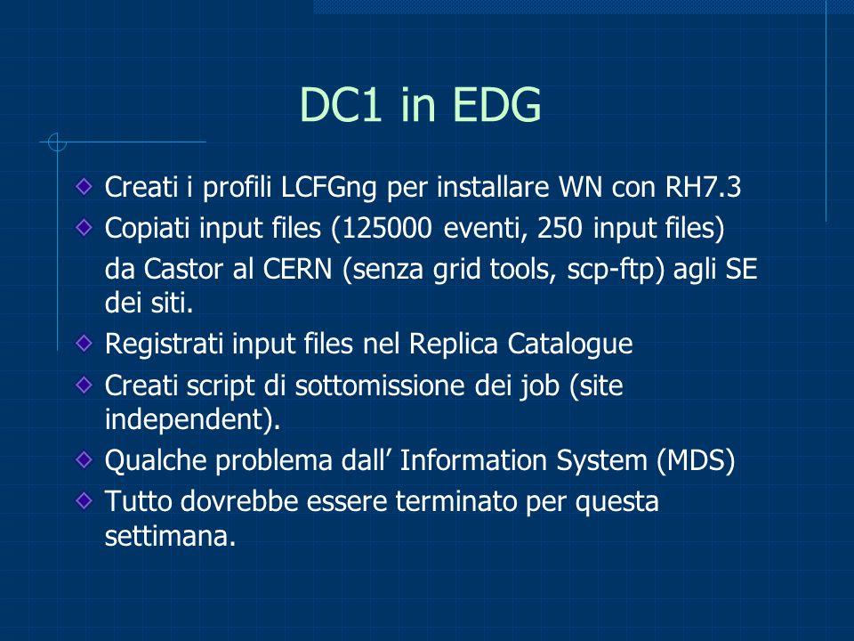 DC1 in EDG Creati i profili LCFGng per installare WN con RH7.3