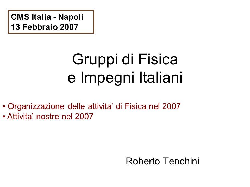 Gruppi di Fisica e Impegni Italiani