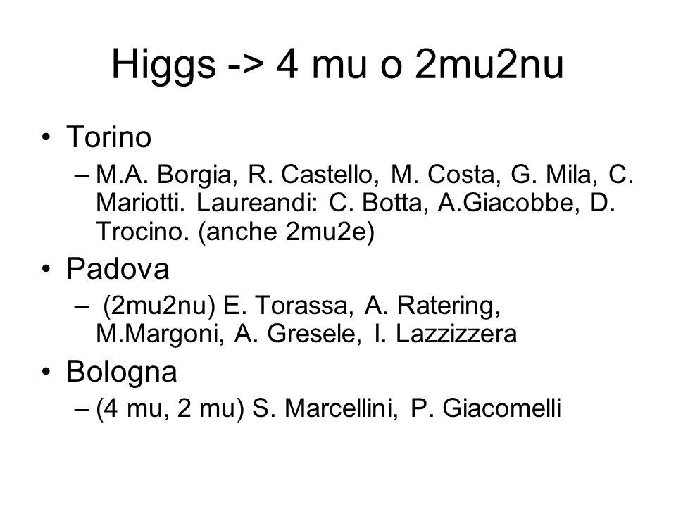 Higgs -> 4 mu o 2mu2nu Torino Padova Bologna