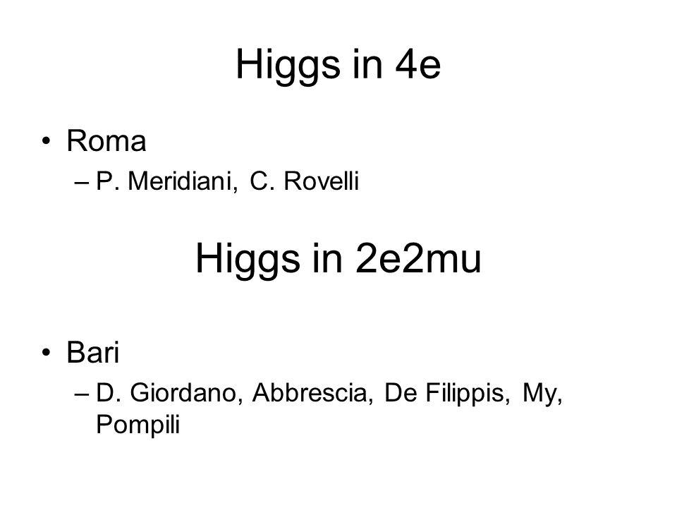 Higgs in 4e Higgs in 2e2mu Roma Bari P. Meridiani, C. Rovelli