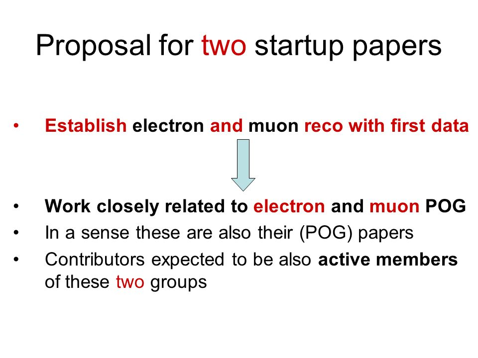 Proposal for two startup papers