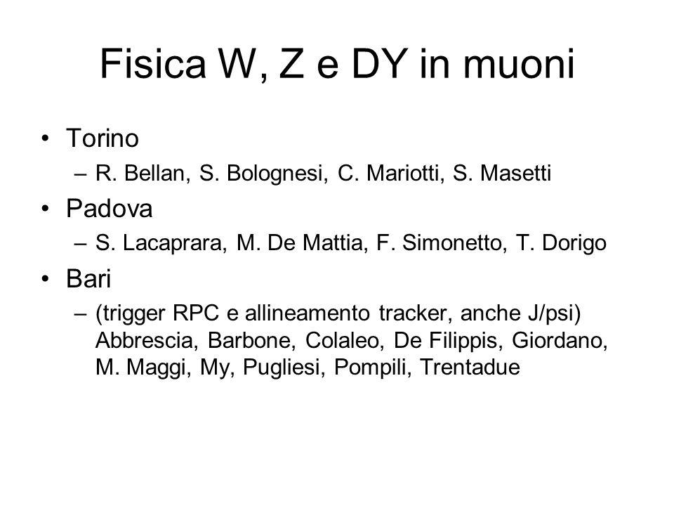 Fisica W, Z e DY in muoni Torino Padova Bari