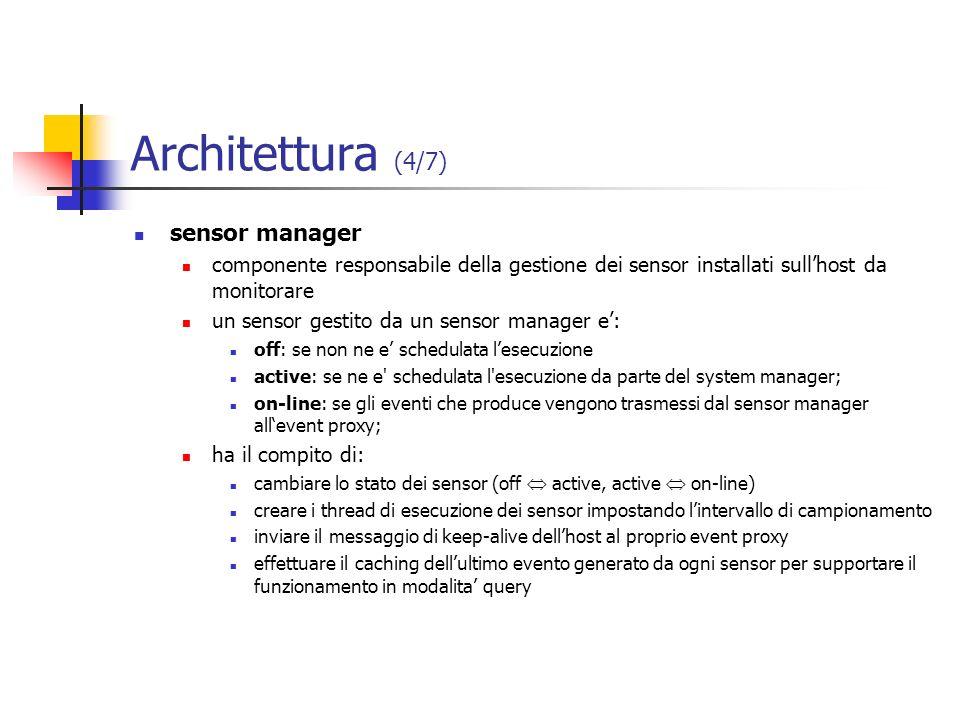 Architettura (4/7) sensor manager