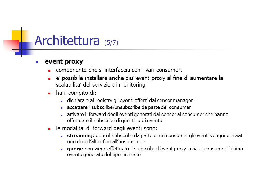 Architettura (5/7) event proxy