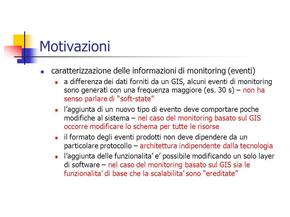 Motivazioni caratterizzazione delle informazioni di monitoring (eventi)
