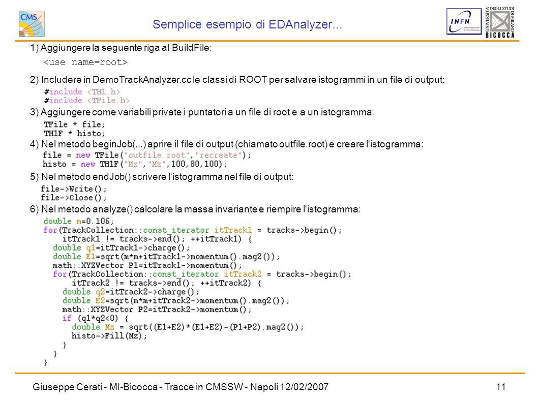 Semplice esempio di EDAnalyzer...