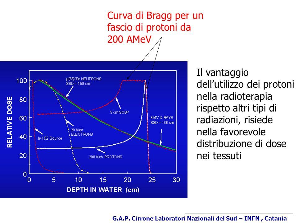 Curva di Bragg per un fascio di protoni da 200 AMeV