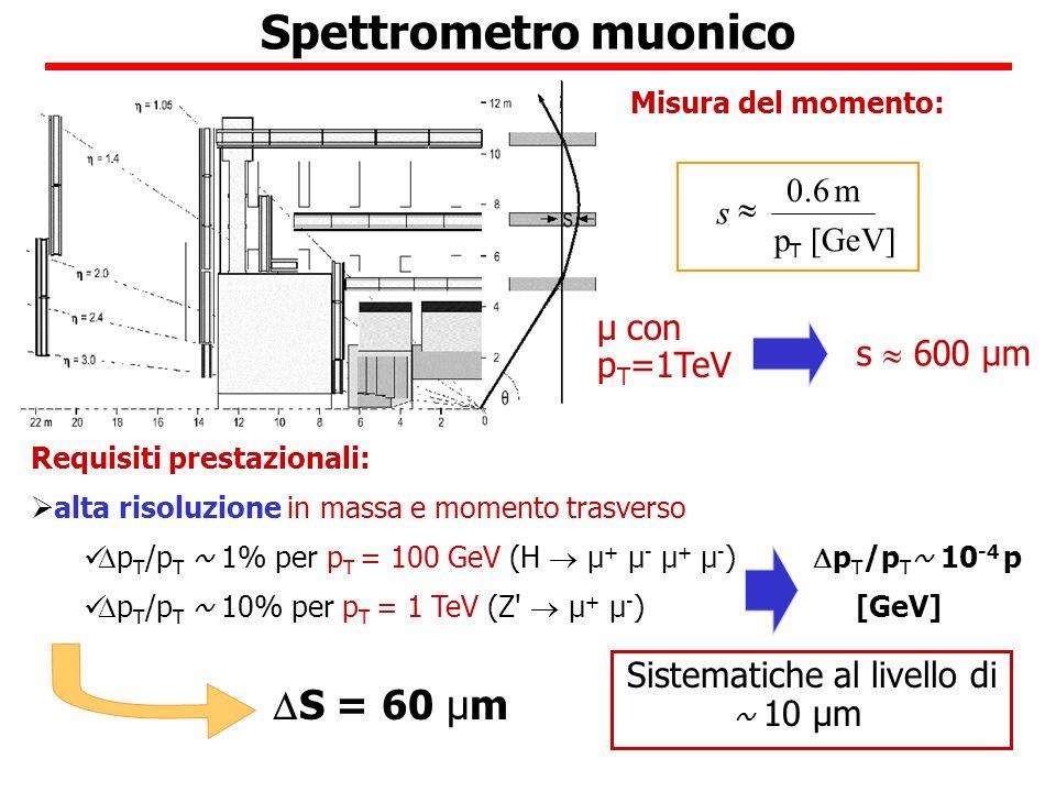 Spettrometro muonico S = 60 µm µ con pT=1TeV