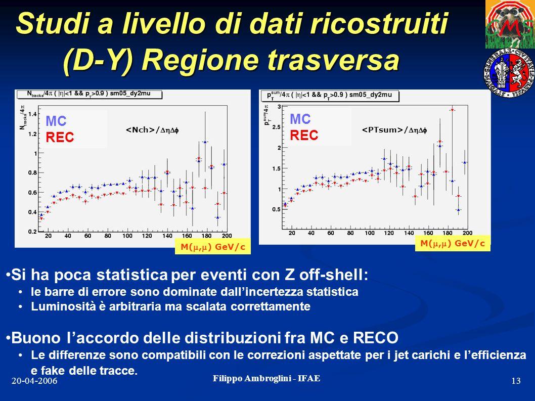 Studi a livello di dati ricostruiti (D-Y) Regione trasversa