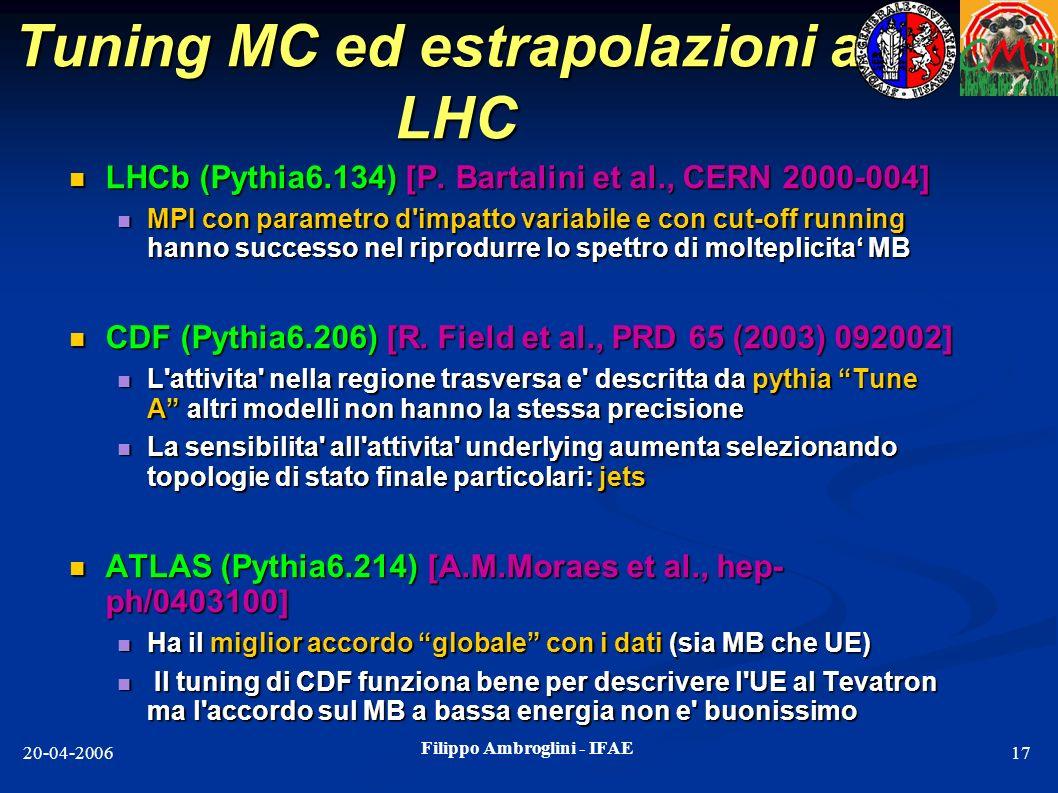 Tuning MC ed estrapolazioni ad LHC