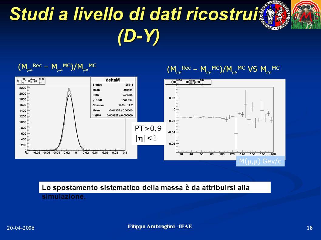 Studi a livello di dati ricostruiti (D-Y)