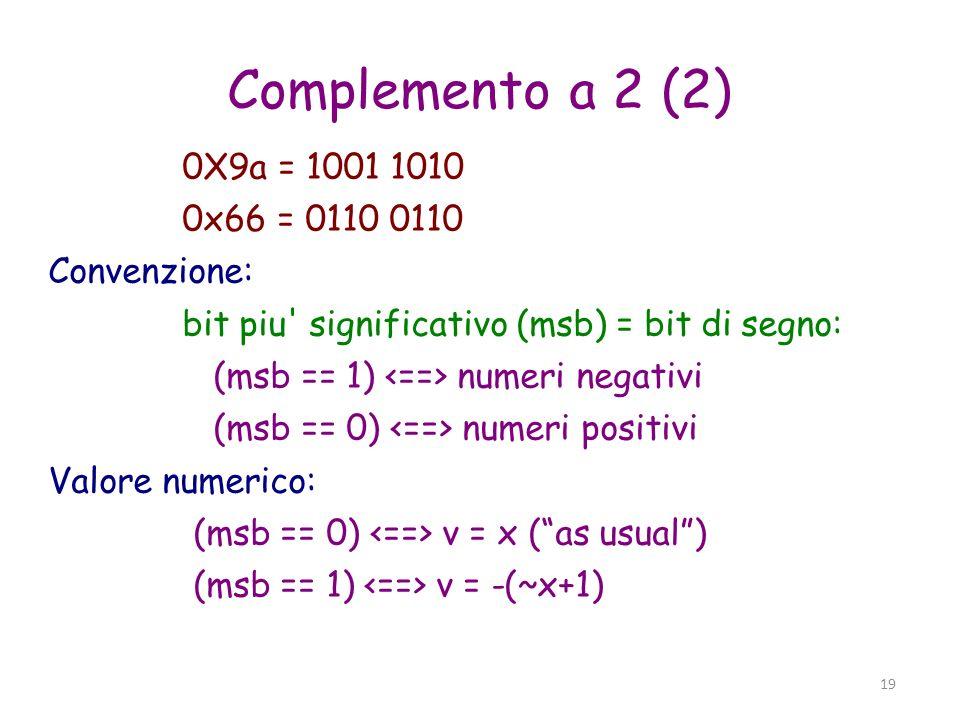 Complemento a 2 (2) 0X9a = 1001 1010 0x66 = 0110 0110 Convenzione: