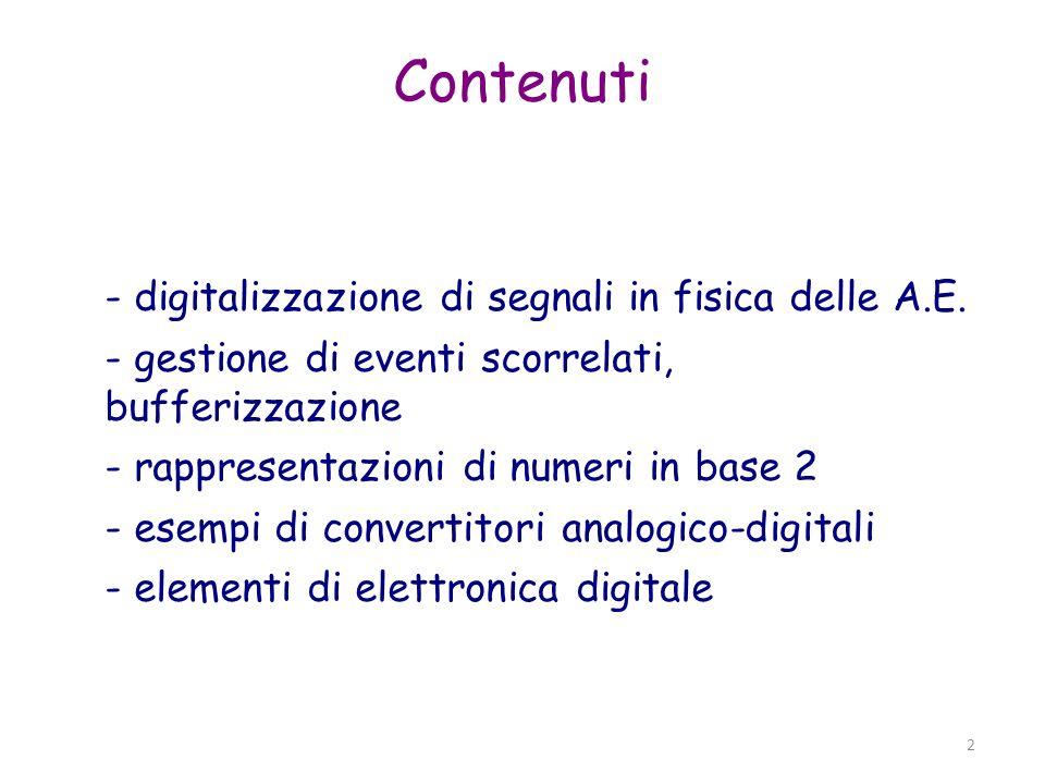 Contenuti - digitalizzazione di segnali in fisica delle A.E.