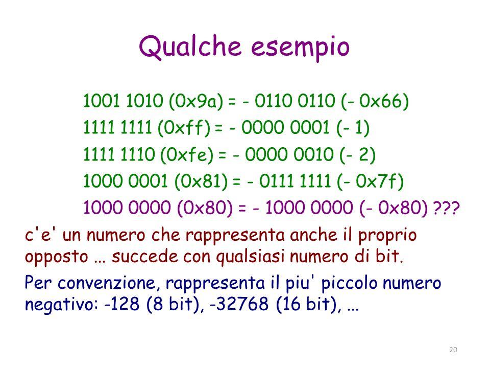Qualche esempio 1001 1010 (0x9a) = - 0110 0110 (- 0x66)