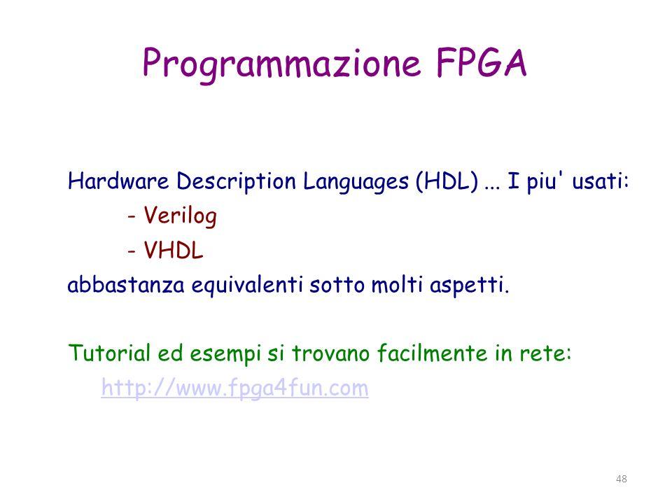 Programmazione FPGA Hardware Description Languages (HDL) ... I piu usati: - Verilog. - VHDL. abbastanza equivalenti sotto molti aspetti.