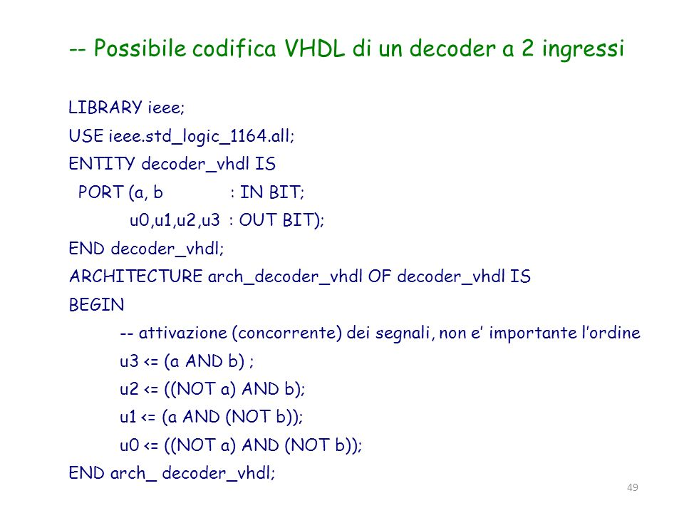 -- Possibile codifica VHDL di un decoder a 2 ingressi