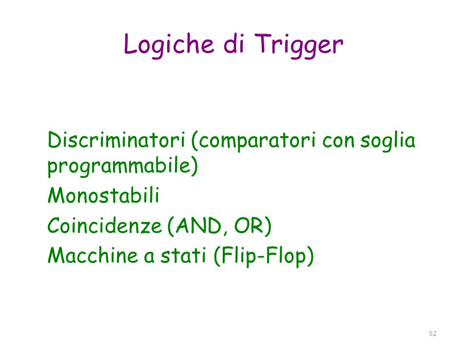 Logiche di TriggerDiscriminatori (comparatori con soglia programmabile) Monostabili Coincidenze (AND, OR)