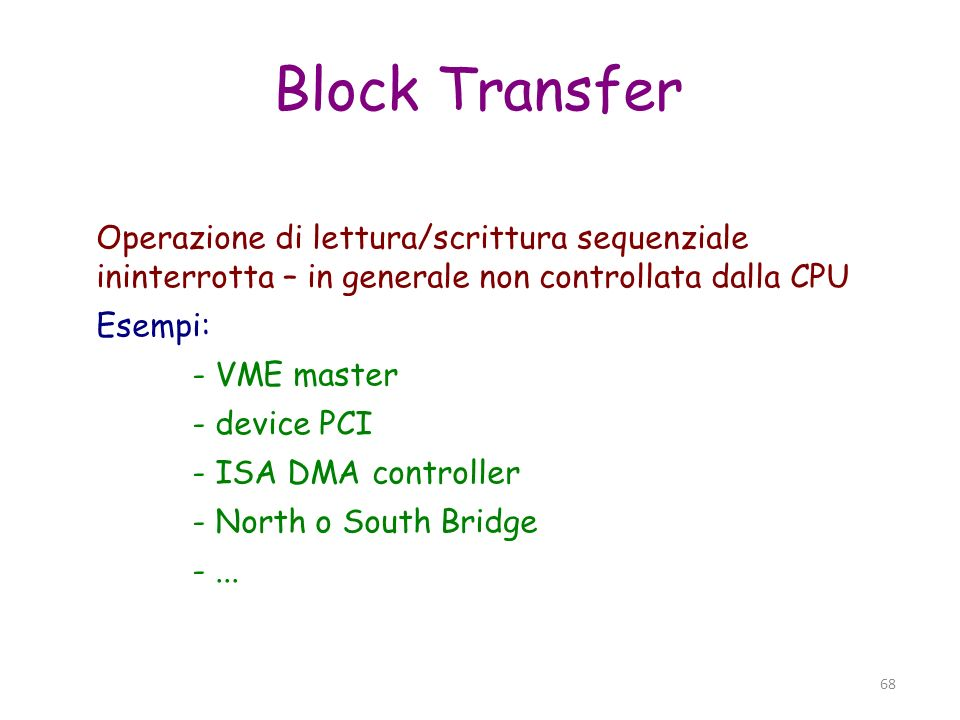 Block Transfer Operazione di lettura/scrittura sequenziale ininterrotta – in generale non controllata dalla CPU.
