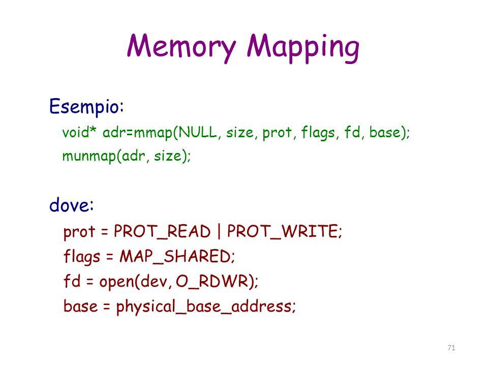 Memory Mapping Esempio: dove: prot = PROT_READ | PROT_WRITE;