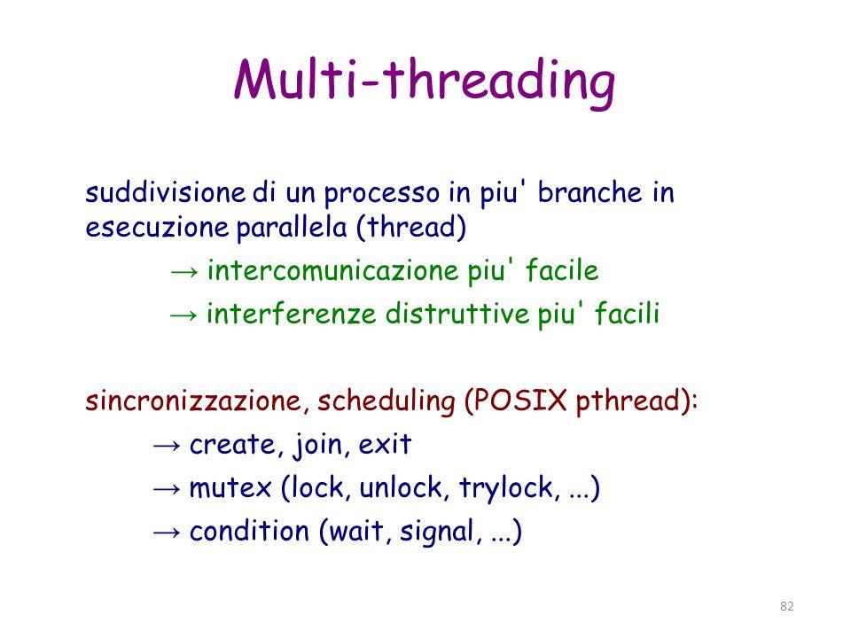 Multi-threading suddivisione di un processo in piu branche in esecuzione parallela (thread) → intercomunicazione piu facile.