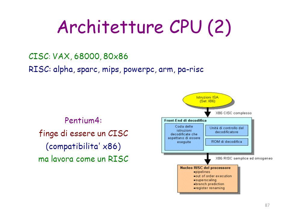 Architetture CPU (2) CISC: VAX, 68000, 80x86