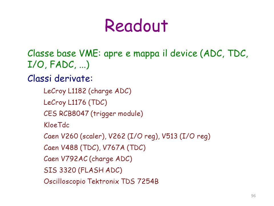 Readout Classe base VME: apre e mappa il device (ADC, TDC, I/O, FADC, ...) Classi derivate: LeCroy L1182 (charge ADC)
