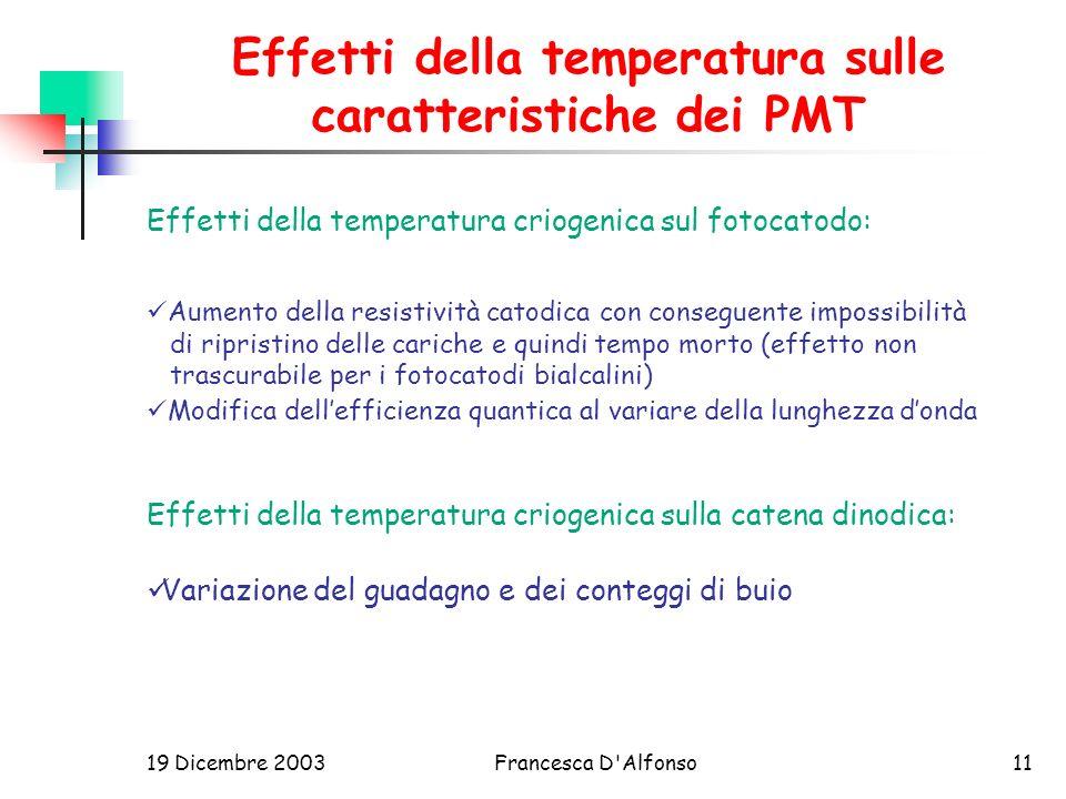 Effetti della temperatura sulle caratteristiche dei PMT