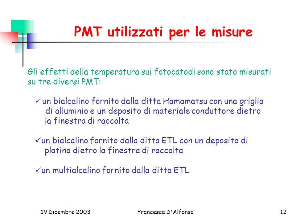 PMT utilizzati per le misure